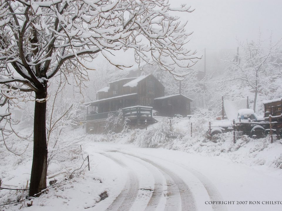 the gold king mine and ghost town in snow